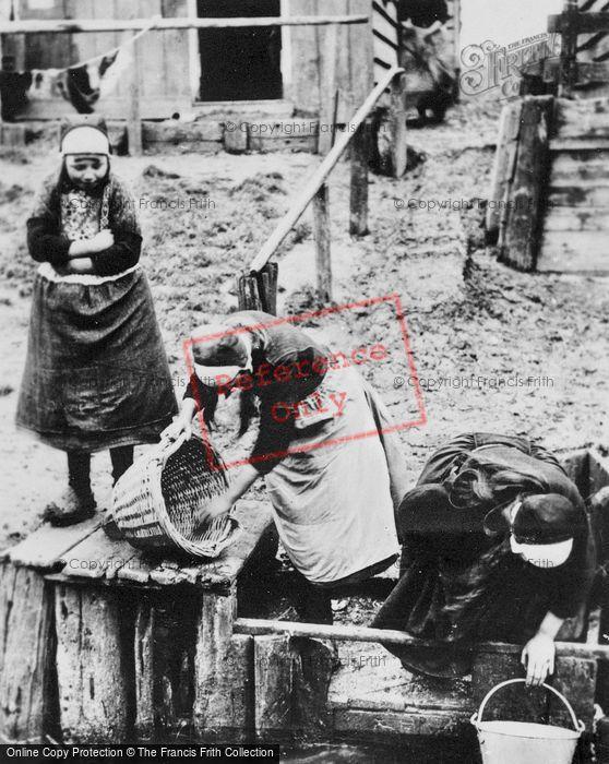 Photo of Marken, Girls At Jetty c.1900
