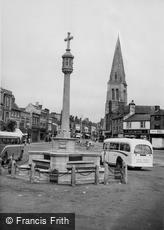 Market Harborough, War Memorial and Church c1955