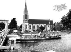 Marlow, All Saints Church And Pleasure Boat c.1955