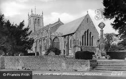 Martock, All Saints Church And War Memorial c.1955
