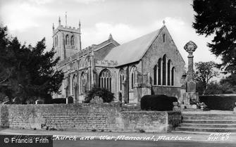 Martock, All Saints Church and War Memorial c1955