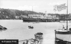 Menai Bridge, Boat At The Pier c.1950