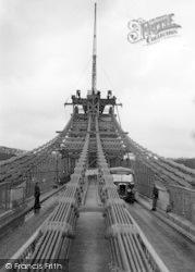Menai Bridge, Suspension Bridge During Reconstruction c.1938