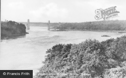 Menai Bridge, The River From The Suspension Bridge c.1955