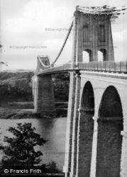 Menai Bridge, The Suspension Bridge c.1950