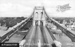 Menai Bridge, The Suspension Bridge c.1955
