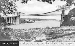 Menai Bridge, The Suspension Bridge c.1955
