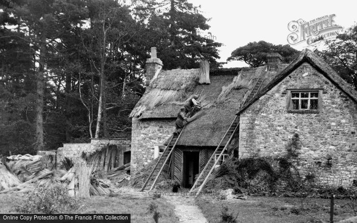 Photo of Merthyr Mawr, Rethatching The Old School c.1955