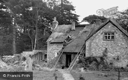 Rethatching The Old School c.1955, Merthyr Mawr