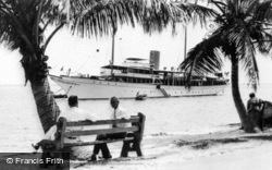Biscayne Bay, Yacht At Anchor c.1930, Miami