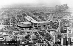 Giant Clipper Over Downtown And Bayfront Park c.1930, Miami