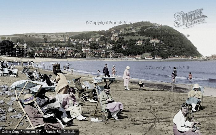 Minehead, The Sands And North Hill 1923