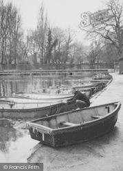Morden, Man By Boating Pool, Ravensbury Park c.1960
