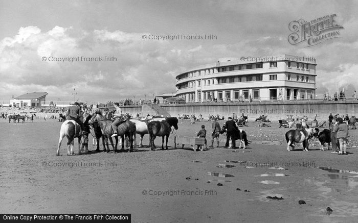 Morecambe, The Sands And Midland Hotel c.1955