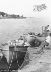 Moville, Lough Foyle, Boy Pulling In A Boat c.1960