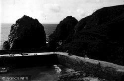 Mullion, Cove Rocks From National Trust Path c.1955
