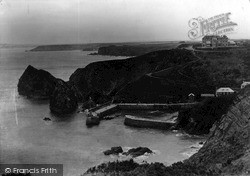 Mullion, Hotel Harbour And Rocks c.1955