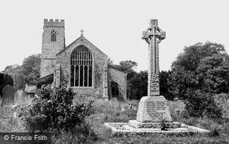 Narborough, All Saints Church and War Memorial c1960