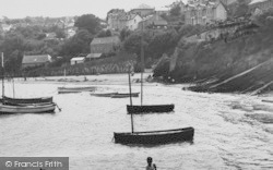 New Quay, The Harbour And Beach c.1955