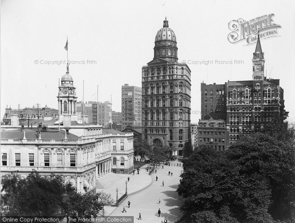 Photo of New York, City Hall, Pulitzer Building And Tribune Buildings 1895