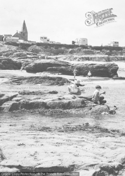 Photo of Newbiggin By The Sea, Rocks On The Beach c.1955