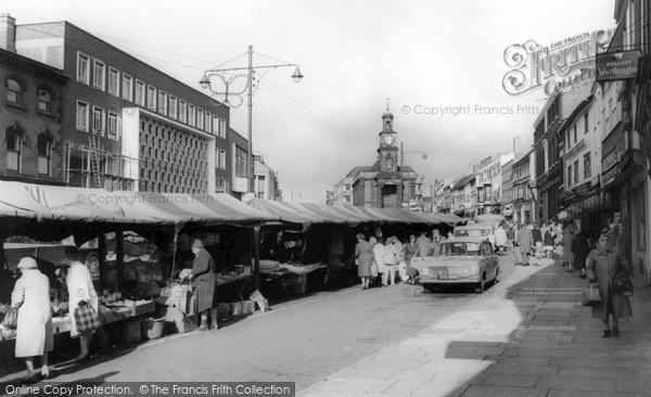 Newcastle under Lyme, the Market c1963