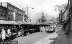 Newcastle Under Lyme, The Market c.1963