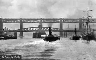 Newcastle upon Tyne, High Level and Swing Bridge 1890