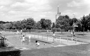 Newmarket, Paddling Pool and St Mary's Church c1960