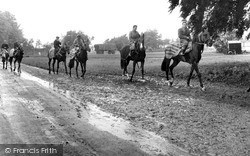 Newmarket, Racehorses Exercising c.1955
