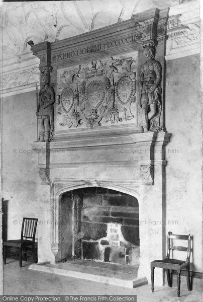 Manor House Drawing: Newquay, Drawing Room Fireplace, Trerice Manor House C