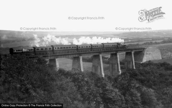 Newquay, Steam Train On The Trenance Viaduct 1907