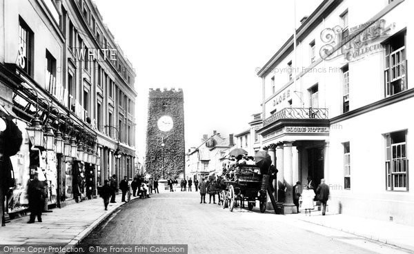 Photo of Newton Abbot, Globe Hotel and St Leonard's Tower 1906