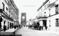 Newton Abbot, Globe Hotel And St Leonard's Tower 1906