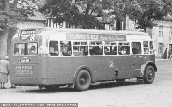 Photo of Northleach, Bus, Market Square c.1950