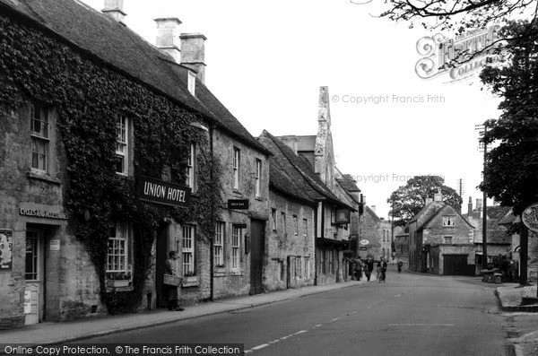 Photo of Northleach, Union Hotel And High Street c.1955