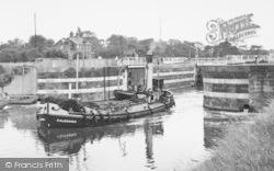 Northwich, A Barge Leaving Hunts Lock c.1955