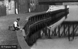 Northwich, a Boy Fishing 1900