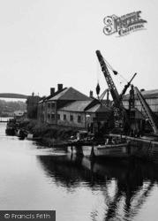 Northwich, A Crane Barge, River Weaver c.1955