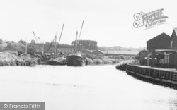 Northwich, Working Boats On River Weaver c.1955