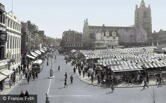 Norwich, Gentleman's Walk and Market 1938