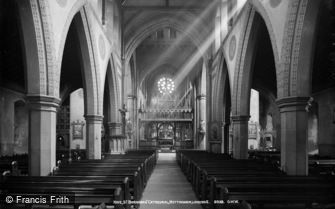 Nottingham, St Barnabas' Cathedral, Nave looking east c1890