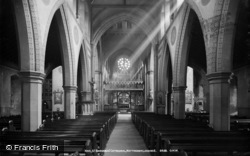 Nottingham, St Barnabas' Cathedral, Nave Looking East c.1890
