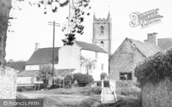 Nunney, The River And Church c.1955