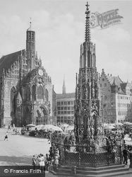 Church And Fountain c.1930, Nuremburg