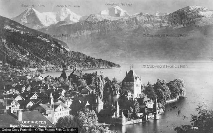 Photo of Oberhofen, Eiger, Monch And Jungfrau c.1910