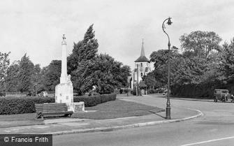 Old Coulsdon, War Memorial and St John's Church c1955