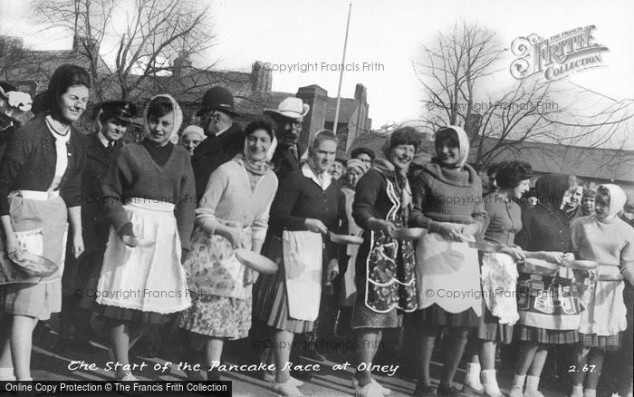 Photo of Olney, The Start Of The Pancake Race c.1955