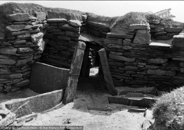 Photo of Orkney, Doorway, Hut 2, Skara Brae 1954