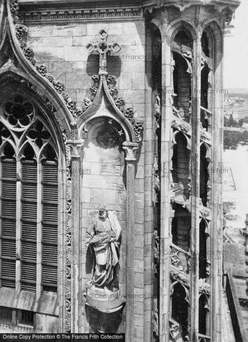 Photo of Orleans, Cathedral Architecture And Statue c.1935